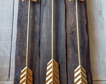 3 Metal Arrows on Reclaimed Wood Arrow - Wall Decor - Gallery Wall - Arrow Decor / Coral Teal Gold Black Red Arrow / Nursery Office Wall Art