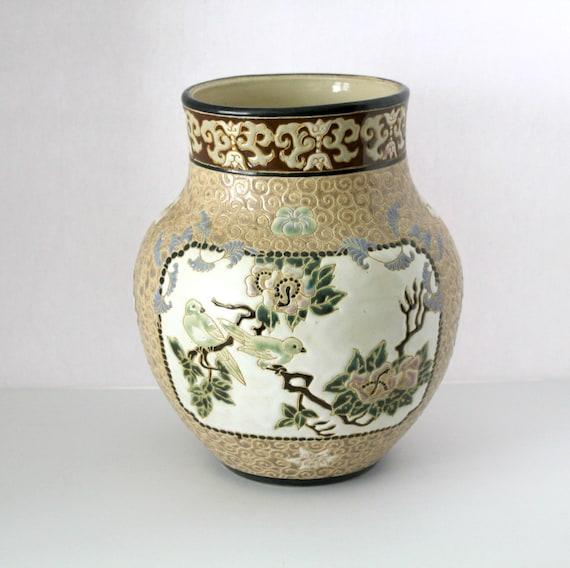 Vintage Dona Vase Vietnam, Large Brown with Birds, Floral, Leaves, Blue, Green, Cream, Beige