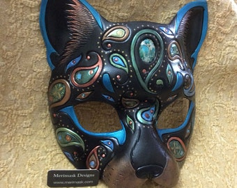 READY TO SHIP Paisley Cat Mask... original handmade leather masquerade costume rainbow boho kitty mardi gras halloween burning man