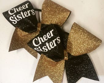 Glitter cheer sisters bows