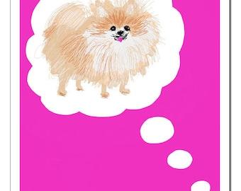 Pomeranian Dog Illustration-Pop Art Print