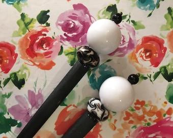 White Black Beaded Hairsticks