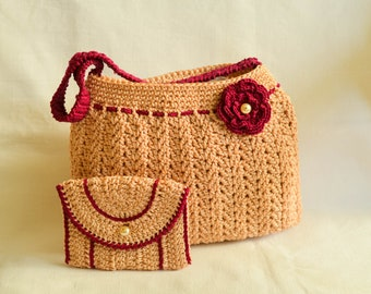 Beige knitted bag with poppy flower detail and wallet