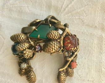 Vintage Brass Gemstone Brooch