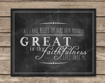 Great is Thy Faithfulness Chalkboard Wall Sign | Chalkboard Scripture Print | Christian Hymn | Religious Art | Printable, Instant Download