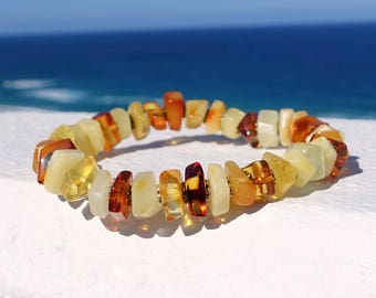 Stretchable Handmade Baltic Amber Beaded Bracelet, Amber Bracelet, Bracelet, Multi Color Gemstone Bracelets, Amber