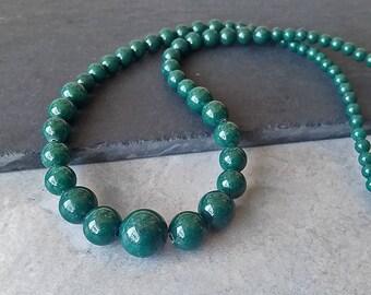 Diplômé chapelet perle - Dark Forest vert perles rondes