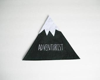 Adventurist, Mountain Wall Art, Mountain Canvas Hand Embroidery, Mountain Wall Hanging, Mountain decor, Rustic Mountain Art