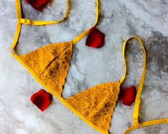 mustard yellow Bralette/ yellow lace bralette/ non wire mustard color bra/ Lace braette/