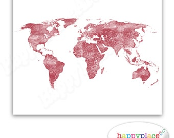 Black and white world map print with timber wood grain red and white world map print for instant download watercolour texture large watercolour map gumiabroncs Images