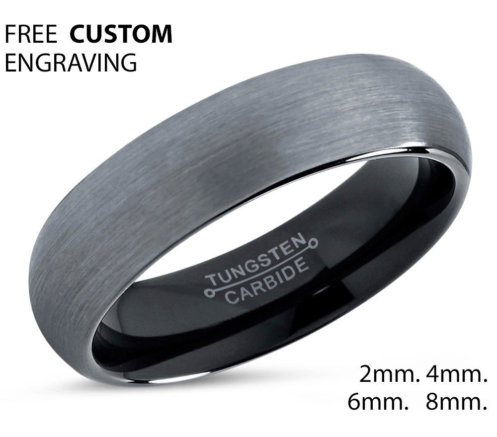 polished carbide mens jewelry plated ring fit wedding polish domed band rings tungsten gold bling high comfort