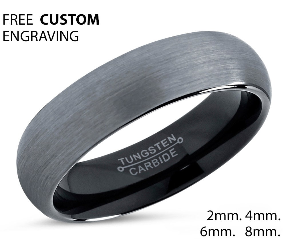 edge ring ladies fit metal inch dp s flat comfort unisex com tungsten sz tone top to black wedding two men carbide amazon rings beveled band