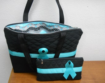 Ovarian Cancer awareness Tote Bag / Matching Small Bag / Purse / BLACK and TEAL / Handmade