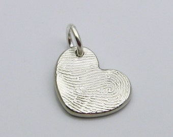 Fingerprint Jewelry, Silver Heart Fingerprint Charm, Fingerprint Pendant, Personalized Charm, In Memory Of, Wedding Charm, Silver Fingerprin