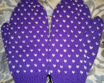 Ultra Violet Purple Adult Thrummed Mittens super warm and cozy! Pantone color of the year 2018