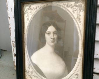 Vintage framed portrait print of woman in black and cream