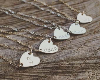 Heart Necklace, Sideways Heart Initial Necklace, Available in 14K Gold Filled, Rose Gold Filled and Sterling Silver, Personalization Gift