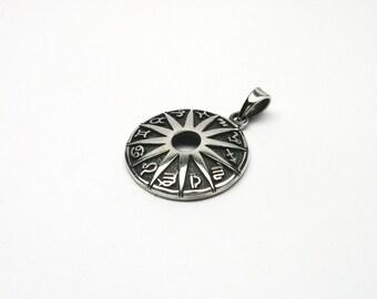 Astrological wheel silver 925 Sun zodiac Sign jewelry Pendant