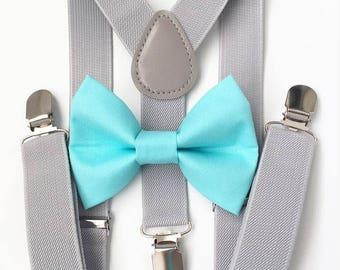 FREE DOMESTIC SHIPPING! Light gray suspenders and aqua blue bow tie set baby boys boy family photoshoot wedding formal ring bearer