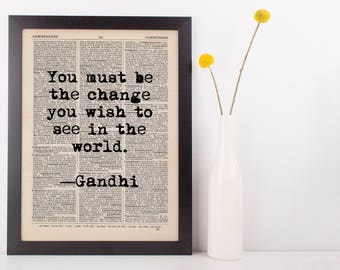 You Must Be the Change Dictionary Print, Vintage Gandhi Quote
