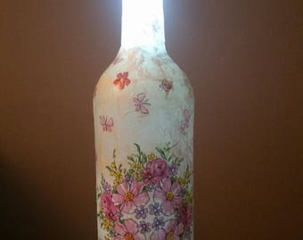 decoupagè light up bottle