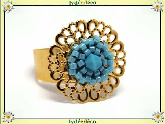 BLUE print with brass flower ring gold plated 24 carat 24 K woven beads Japanese turquoise blue colors 20mm adjustable