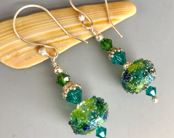 Turquoise and Lime Sugared Lampwork Glass Earrings / Summer Earrings / Lime Green and Teal Blue Lampwork Earrings