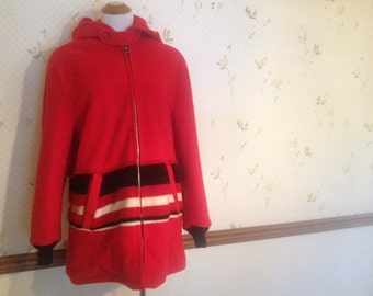 Amazing Vintage Wool Red Coat With Hood, Ital 40, 4-6