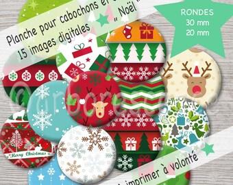 Background Christmas - Image digital diameter 20 / 30 mm