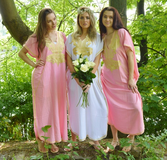 Set of 5 Bridesmaid robes,Bridesmaid gifts, Pink Gold Marrakech One Size Moroccan Kaftan-Beach wedding, bridal shower party, baby shower