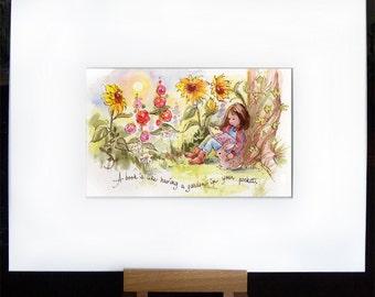 Childrens Art - Art Print - Books - Reading Quote - Art - Sunflowers Garden - Rabbit Girl Sunshine