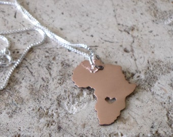Love for Africa Copper Heart cut out Necklace Map necklace State jewelry Custom necklace