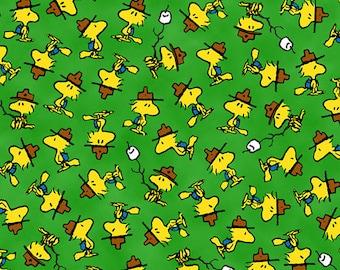 Snoopy Fabric, cartoon Fabric: Snoopy Peanuts All Star Baseball Woodstock camp Marshmallow Green 100% cotton fabric by the yard (QT20)