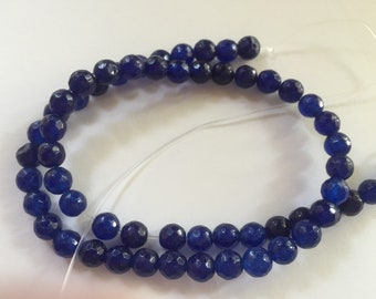 6mm JADE Beads in Navy Blue, Faceted, Round, Full Strand, 59 Pcs, Gemstones, Blue Stone, Candy Jade