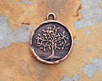 1 Antique Copper Tree of Life 24x20mm Nunn Designs