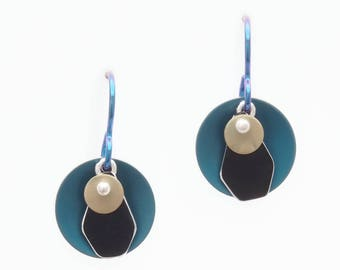 Small, Round Teal and Black Earrings – Anodized Aluminum Jewelry- Fold and Curve Collection by Mandy Allen