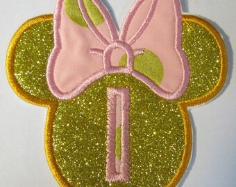Birthday Number or Letter Girl Mouse Heads - Embroidered Custom made Applique