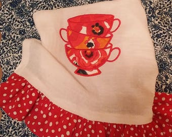A Tea Towel With Pioneer Woman Flea Market Fabric Appliqued Tea Cups
