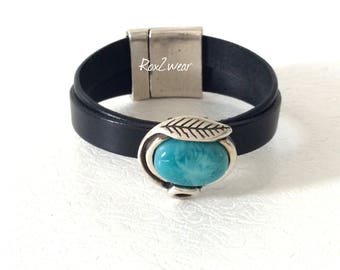 Turquoise bead leather cuff