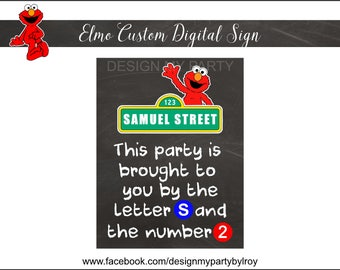 ELMO Chalkboard Sign DIGITAL FILE, Elmo Custom Sign, Elmo Party Supply, Elmo, Elmo Party Printable, Elmo Paper Supply, Chalkboard Sign.