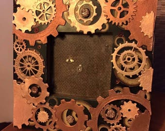 steampunk mixed media picture frame