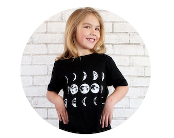 Moon Phase Toddler Graphic Tee Shirt, Youth Clothing kids clothes Astronomy, Astrology, Outer Space, Black and White, Hand Screenprinted top
