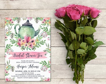 Bridal Shower Invitation, Bridal Shower Tea Party, 5x7 Inch, Tea Party, Watercolor, Flowers, Personalize, Baby Shower, Printable No. 1018