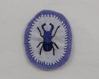 Purple Beetle Embroidered Patch