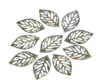 10 charms pendants filigree leaves Bronze 24 x 13 mm