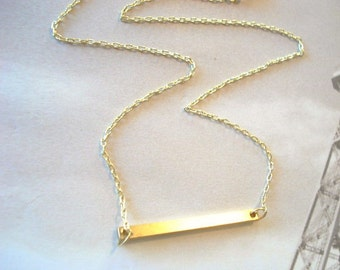Collier or Bar collier tendance collier Bar Minimal barre de laiton Collier Collier moderne bijoux Slim Long Bar