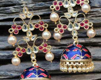 Indian jewellery gold plated meenakari earrings lined with fine pearls
