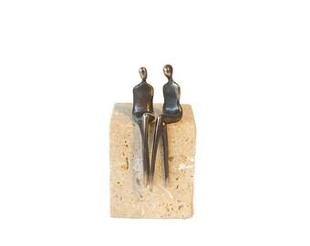 Lesbian Pride Bronze Sculpture: Loving Spirit, Sophisticated Tastes custom assembly and stone base selection