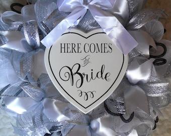 Wedding Wreath, Bridal Shower Wreath, Chalkboard Wedding Wreath, White and black wedding wreath, Wedding, Wedding decorations