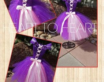 Rapunzel tutu dress gown, tutu dress, pageant tutu, pageant dress, costume tutu, birthday girl outfit, birthday tutu dress, newborn tutu